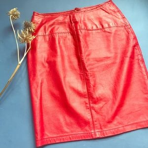 Lipstick red vintage leather pencil skirt